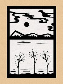 原创黑白画剪纸日本山水