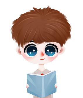 原创可爱卡通看书学习男孩