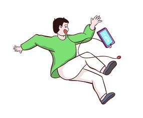 原创手绘人物戴耳机沉迷手机摔倒的男孩插画