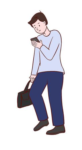 原创手绘人物上班路上沉迷手机的男孩插画