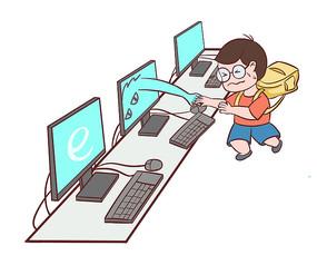 原创手绘人物小学生沉溺于玩网络游戏的场景