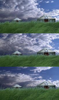 草原蒙古包飞云舞台背景视频素材