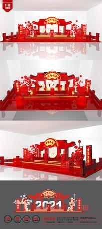 创意2021牛年美陈商场氛围布置设计