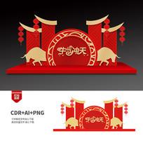 红色喜庆2021牛年商场美陈布置设计
