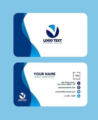 互联网科技公司二维码蓝色名片设计
