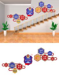 大气公安警察楼梯文化墙设计