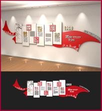红色中国风企业简介文化墙
