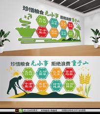 简约绿色餐馆学校食堂文化墙