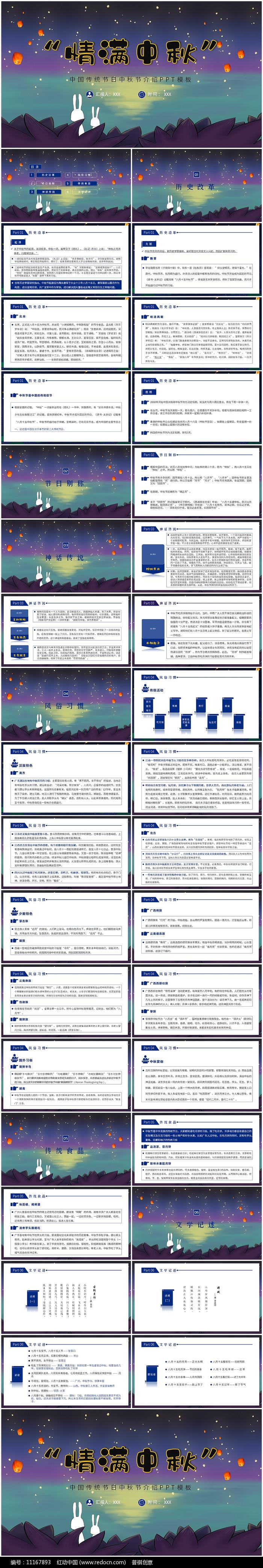 中国传统节日中秋节风俗介绍ppt模板图片