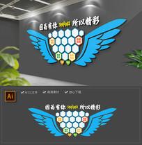 蓝色翅膀员工风采企业文化墙照片墙