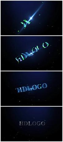 蓝色科技粒子logo视频模板