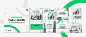 绿色企业商务办公宣传手册版式设计模板