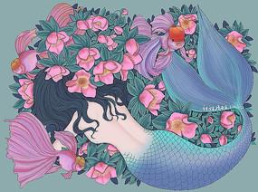 美人鱼与花
