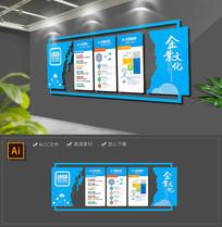 大气蓝色科技企业文化墙宣传栏模板