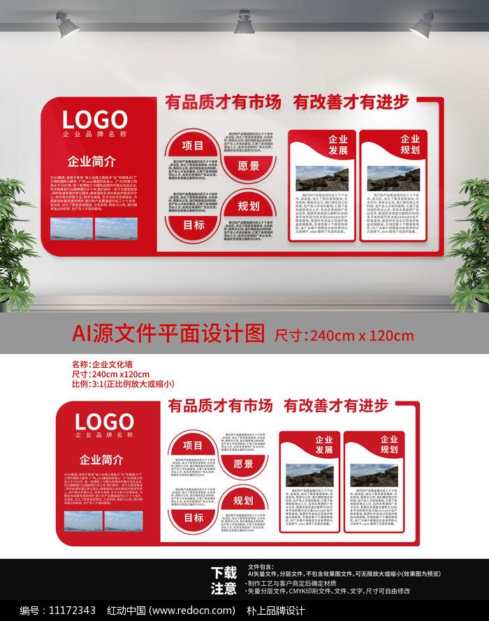 红色简约企业文化墙图片