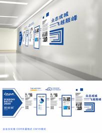 蓝色经典企业文化墙