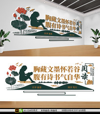 新中式读书阅读图书馆阅览室文化墙