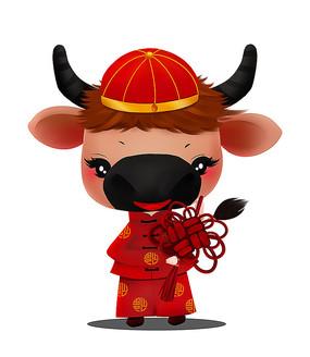 原創新年可愛卡通中國結生肖牛