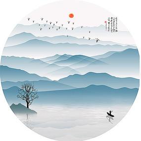 古式山水水墨风景圆形晶瓷画装饰画