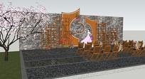 户外婚礼广场布景SU模型