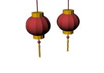 一对圆形大红灯笼