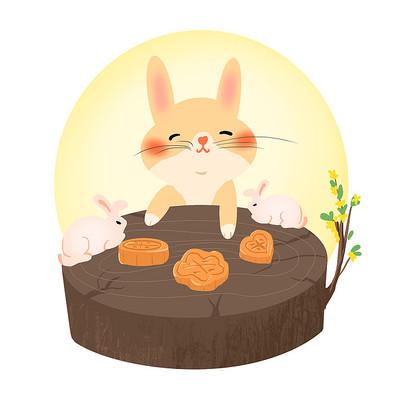 中秋兔子吃月饼