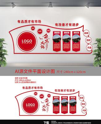 红色企业文化墙展板