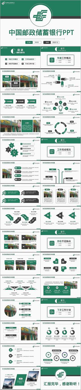 简洁中国邮政储蓄银行汇报PPT