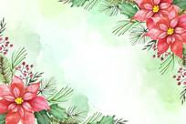 矢量手绘背景花朵装饰画