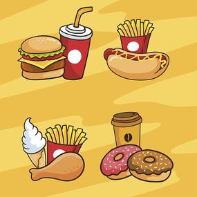 手绘美食汉堡矢量扁平插画