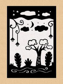 原创黑白画剪纸暗黑森林