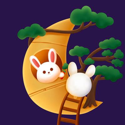 原创卡通中秋兔子