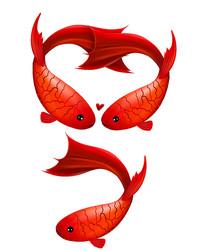 原创手绘爱心大红鱼