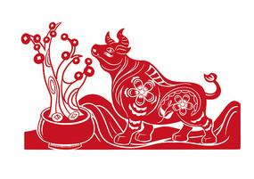 红色剪纸牛摇钱树贺新春财运亨通场景插画