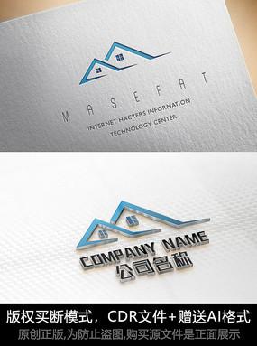 简约房子logo标志房地产商标设计