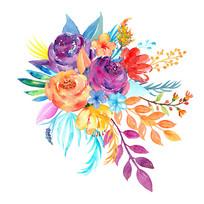 水彩婚礼现场花素材psd分层