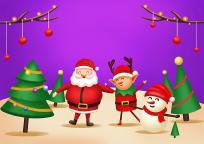 原创手绘插画圣诞老人雪人鹿素材PSD