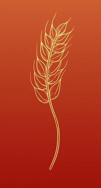 原创手绘工笔勾线农作物丰收成熟的麦穗
