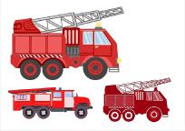 原创手绘消防安全消防车素材PSD