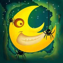原创万圣节墓碑月亮蜘蛛