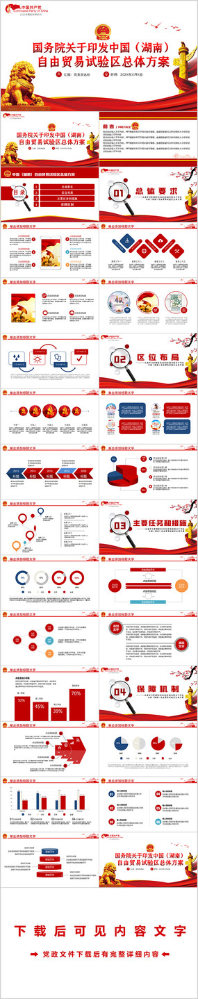 中国湖南自由贸易试验区总体方案党课PPT