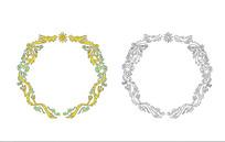中式圆形双龙戏珠图花边图