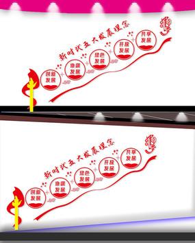 五大发展理念楼梯宣传文化墙