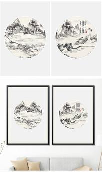 新中式水墨山水意境装饰画风景画无框画