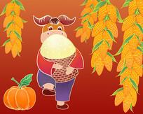 原创牛年丰收贺岁抱着米筐的牛工笔画