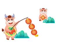 手绘动物卡通牛年小牛挂灯笼庆祝新春插画