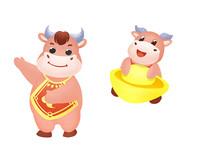 原创卡通牛年贺岁恭贺新春的小牛插画