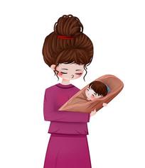 原创母爱可爱卡通母亲抱婴儿