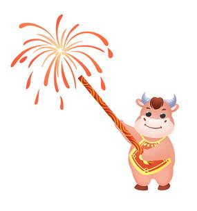 原創手繪動物卡通正在放煙花的小牛插畫