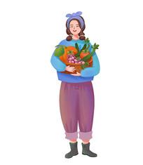 手绘人物小清新丰收季节抱着瓜果的女孩子
